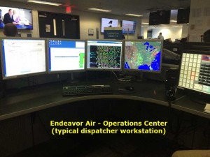 A view inside Endeavor Air's Operational Control Center Aircraft dispatcher desk