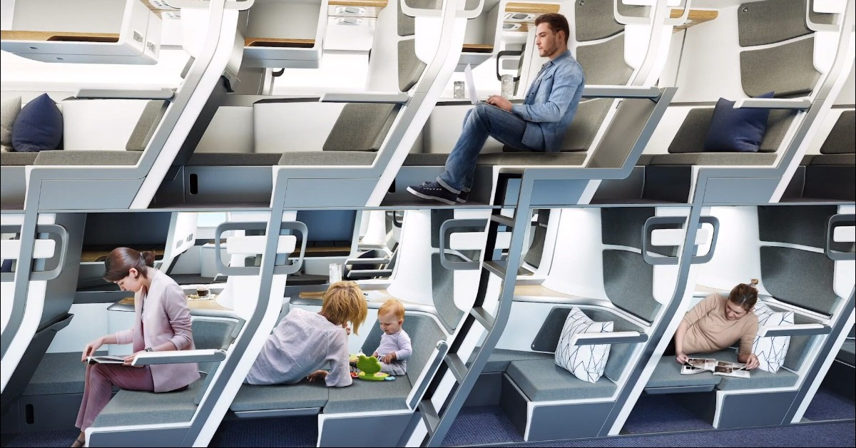 People using new Zephyr double-decker style airplane seat design