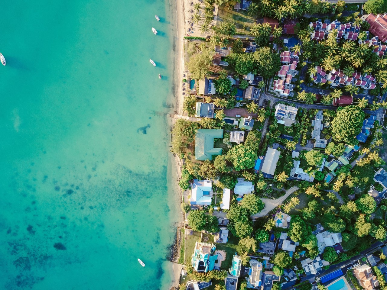aerial view, seashore, beach, houses