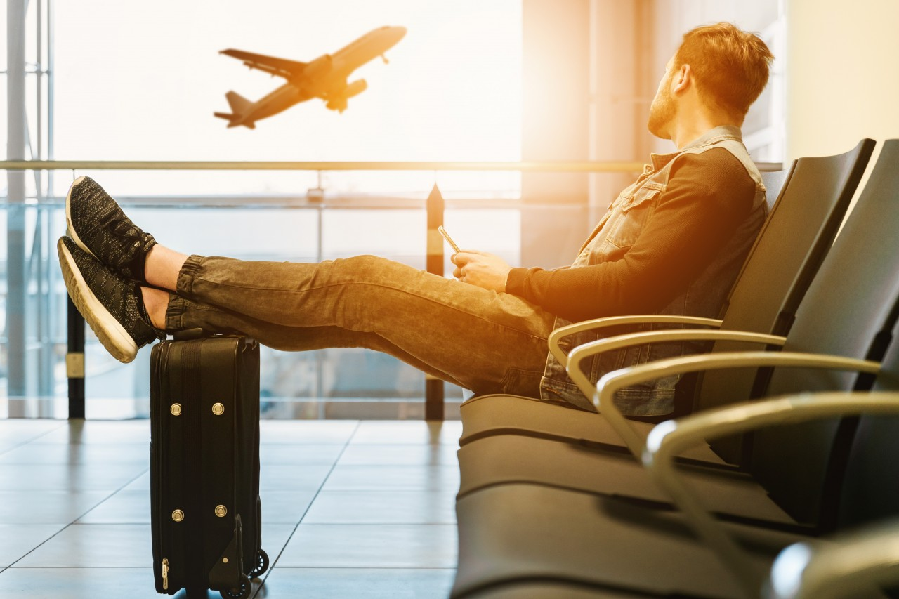 man, luggage, airport, airplane