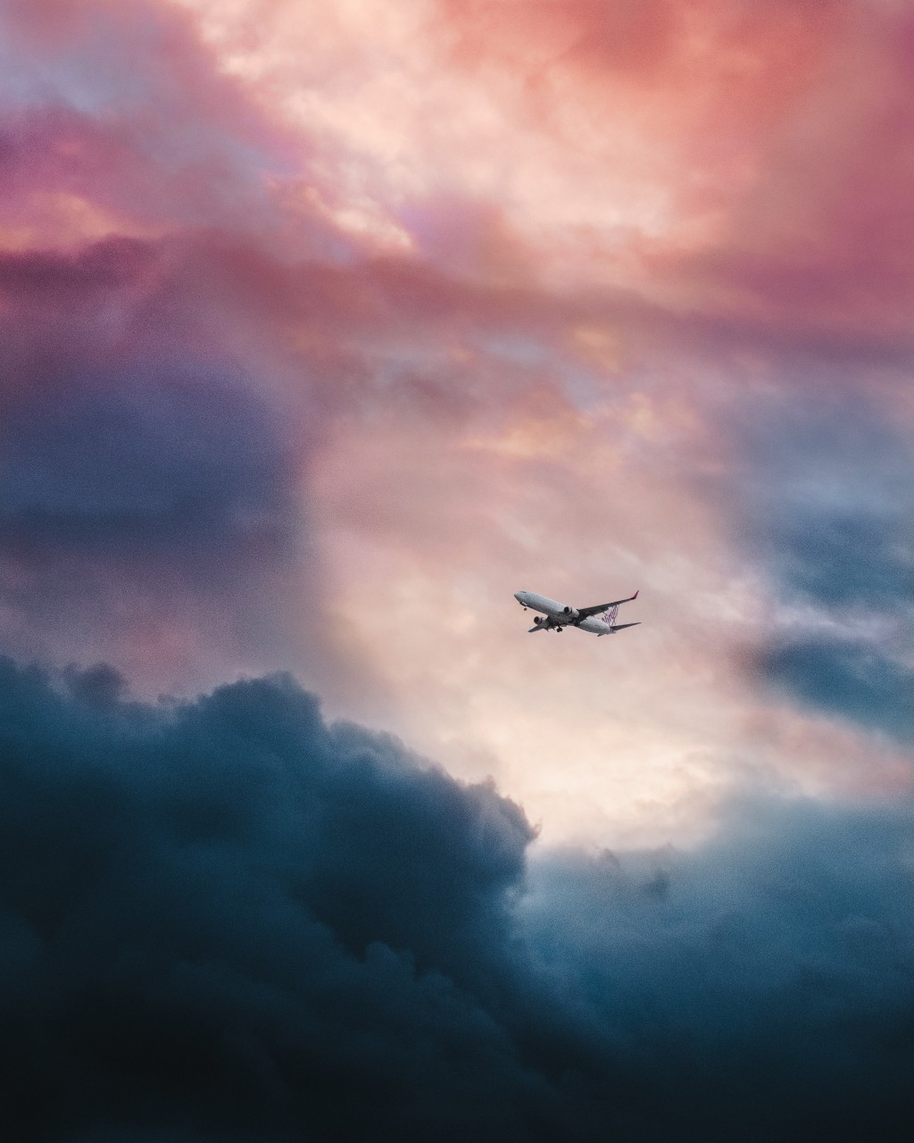 plane, sky, dark clouds