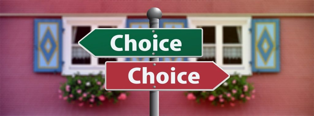 roadsign with 2 signs that say choices